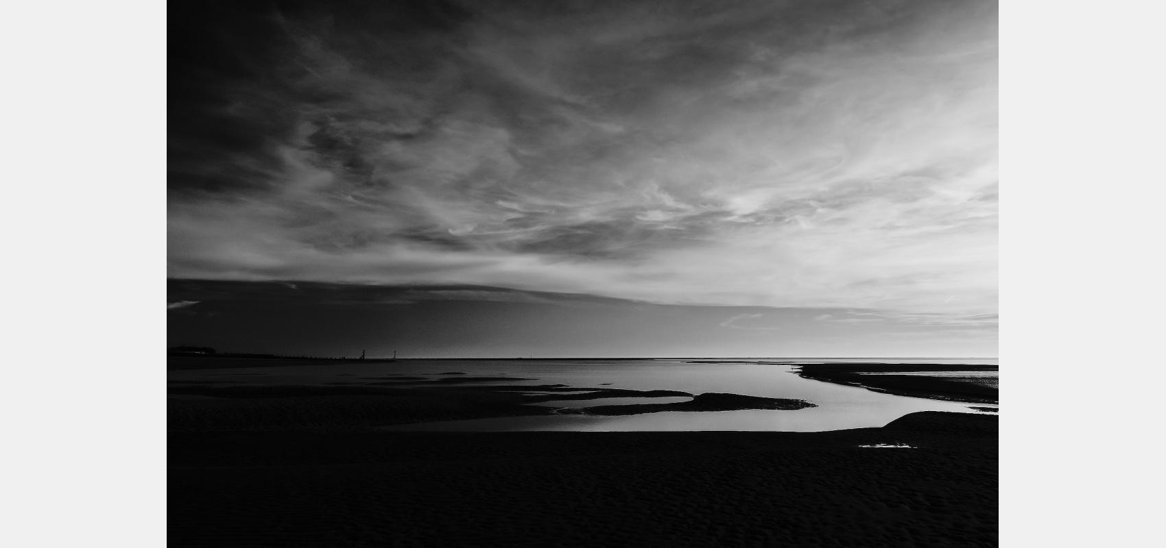 Location - Coastal series. Beach lagoons at sundown.