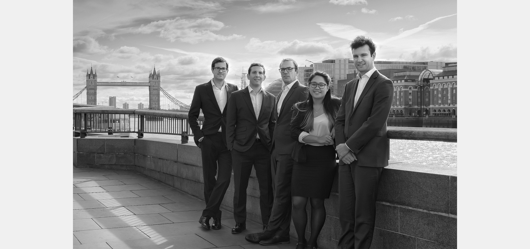 Business portraits. Group shot/Thames embankment / Tower Bridge/ background.