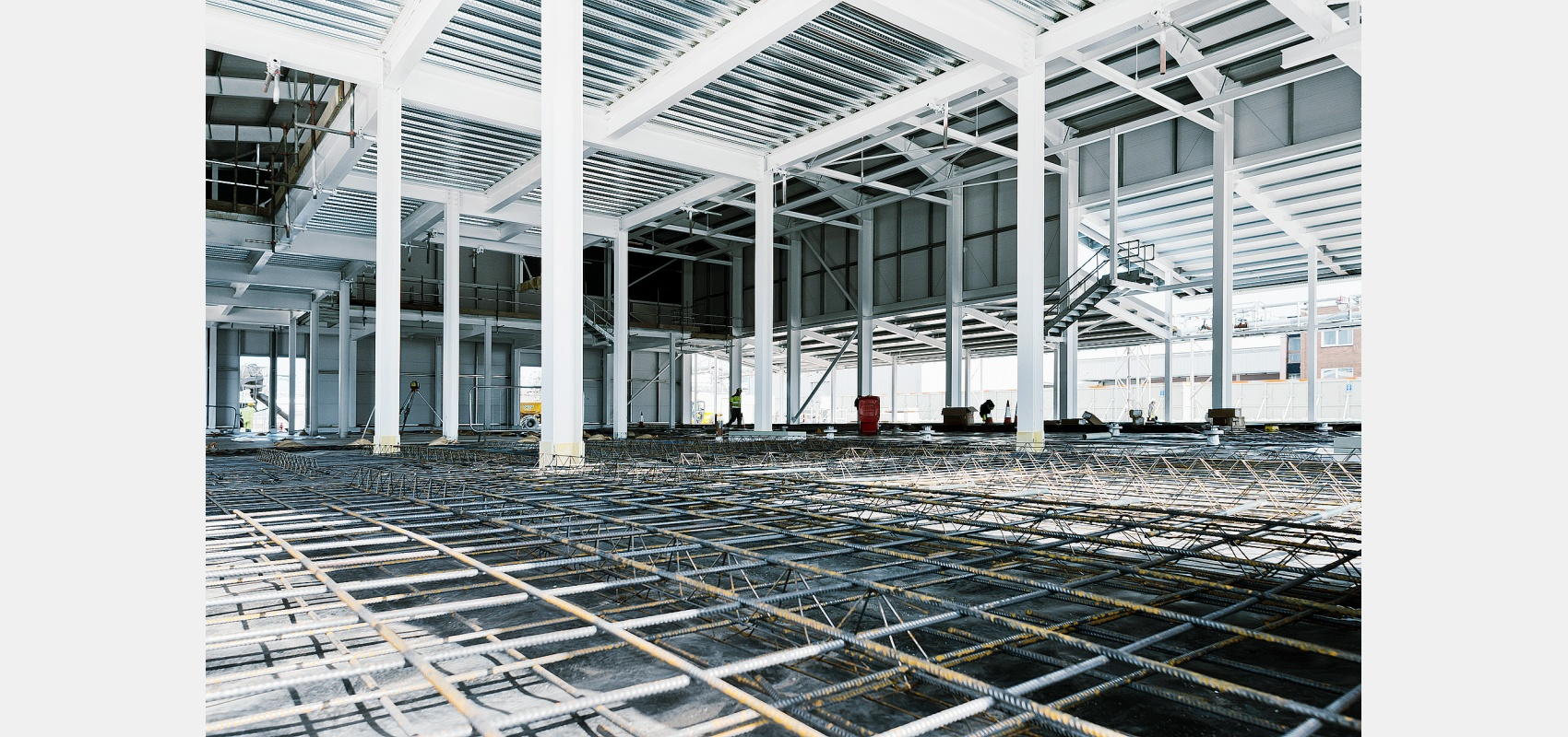 Construction photography/interior image/reinforced floors/ being laid/ for construction of new lab.