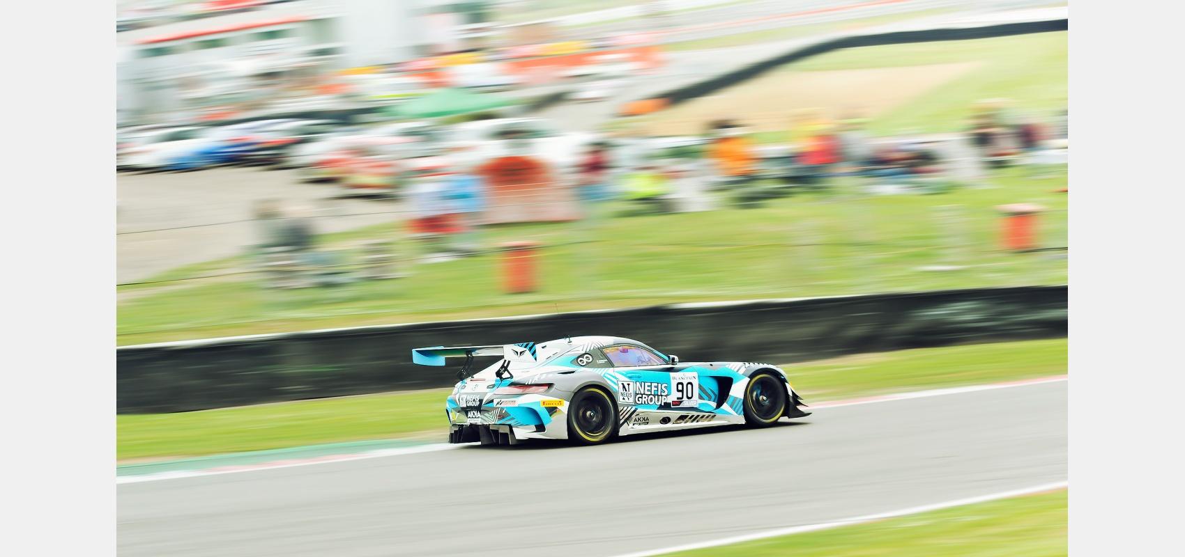 Motorsport - Blancpain GT Series Mercedes AMG GT3 at speed.