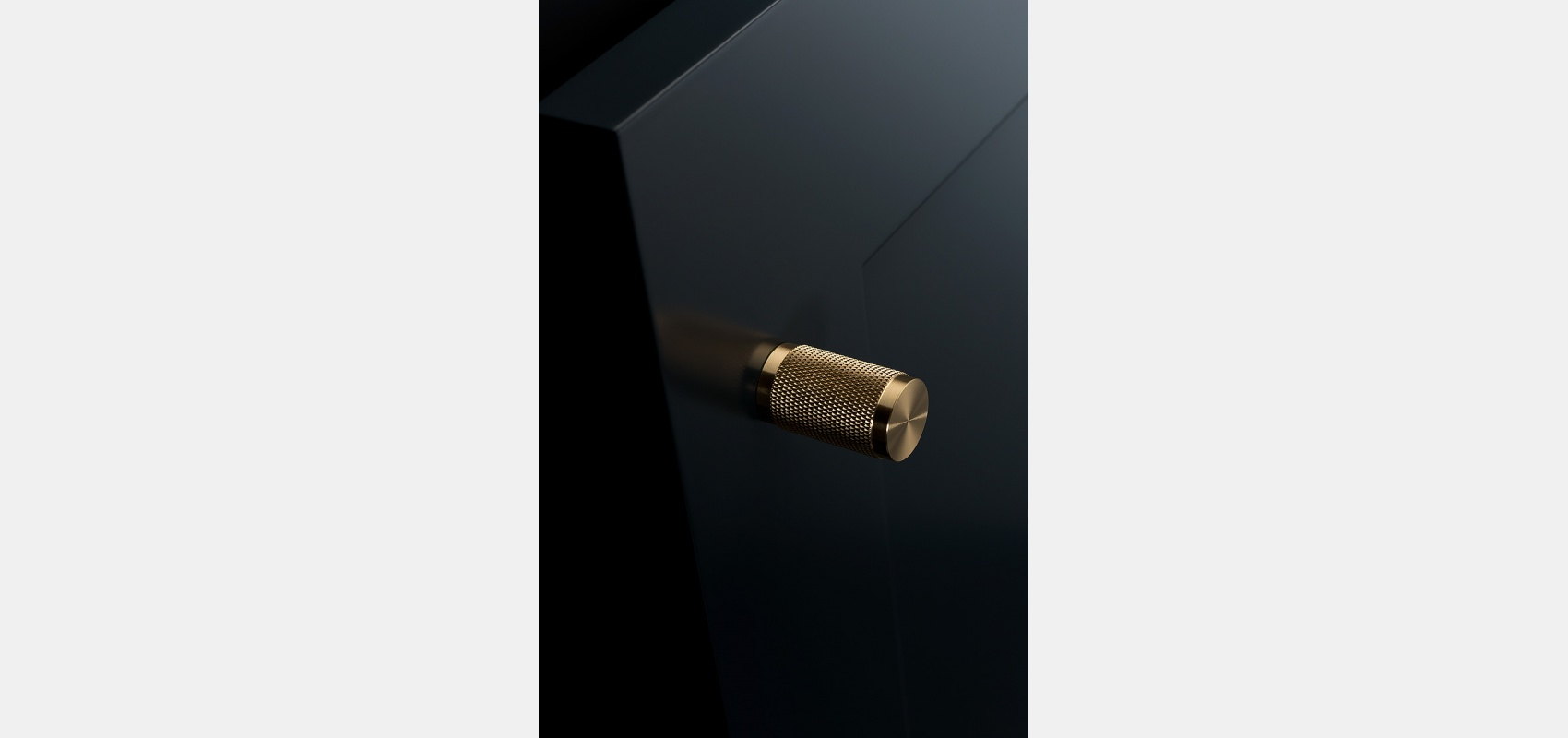 Product photography/ Interior fittings/close up/ brass knurled/ cabinet handle.