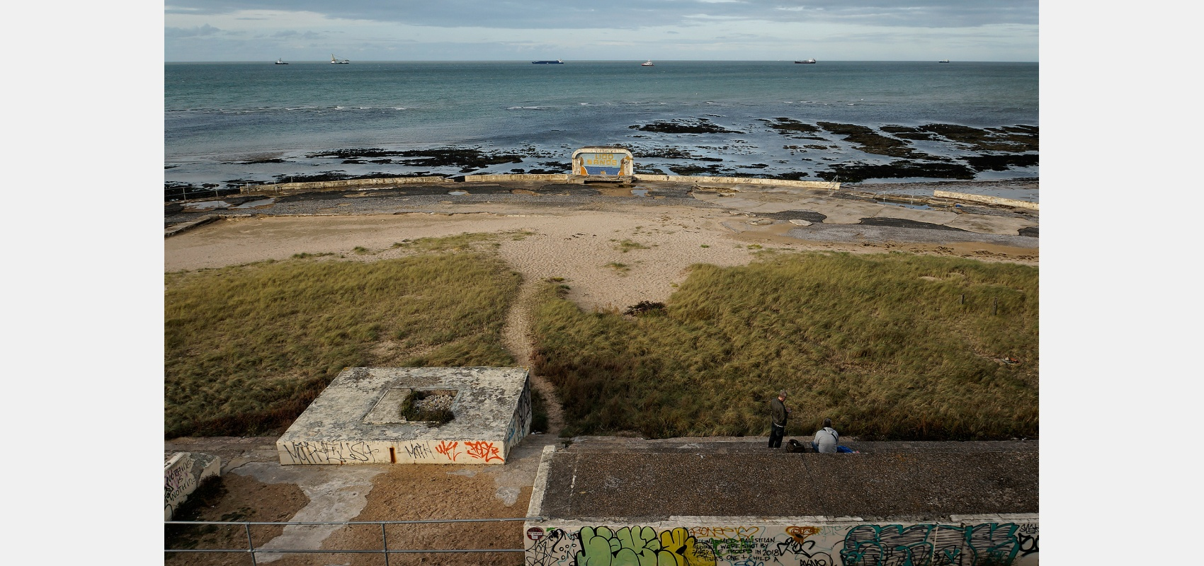 Coastal series. Places and location. Lido Sands, Margate, disused art deco lido built by John Henry Iles