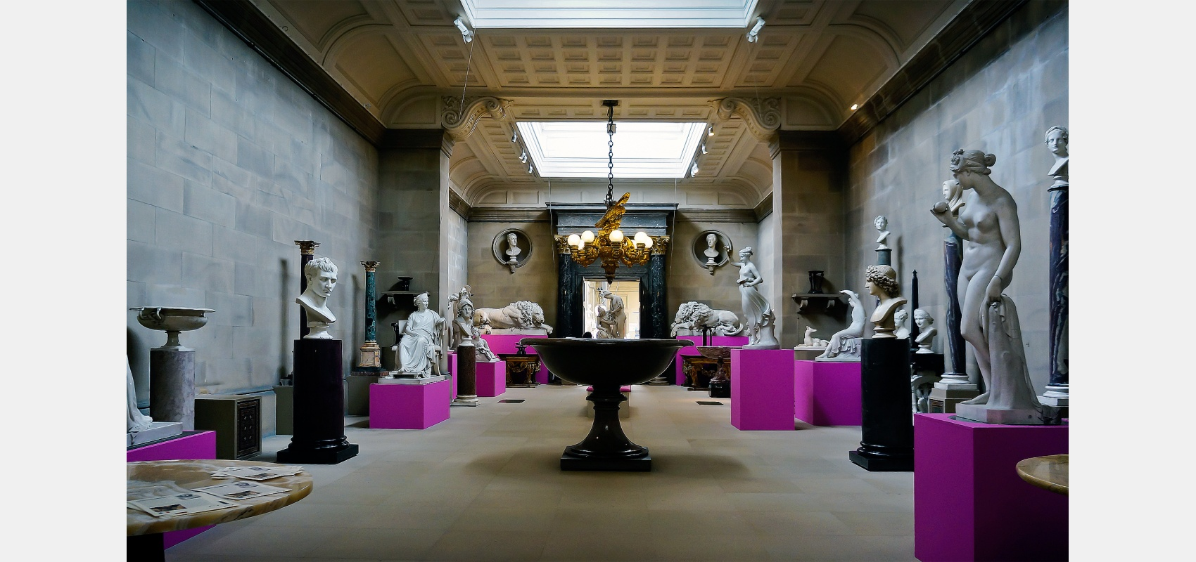 Interior photography - Collection of spare sculpture and busts below stairs at Chatsworth.