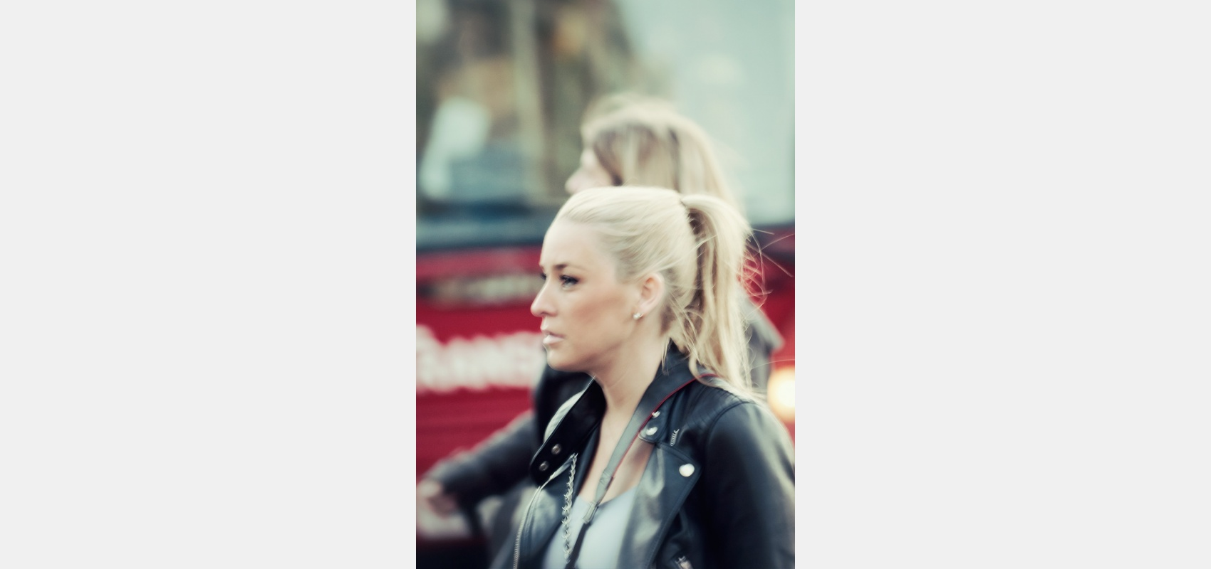 Street photography. Woman in leather jacket. London project.