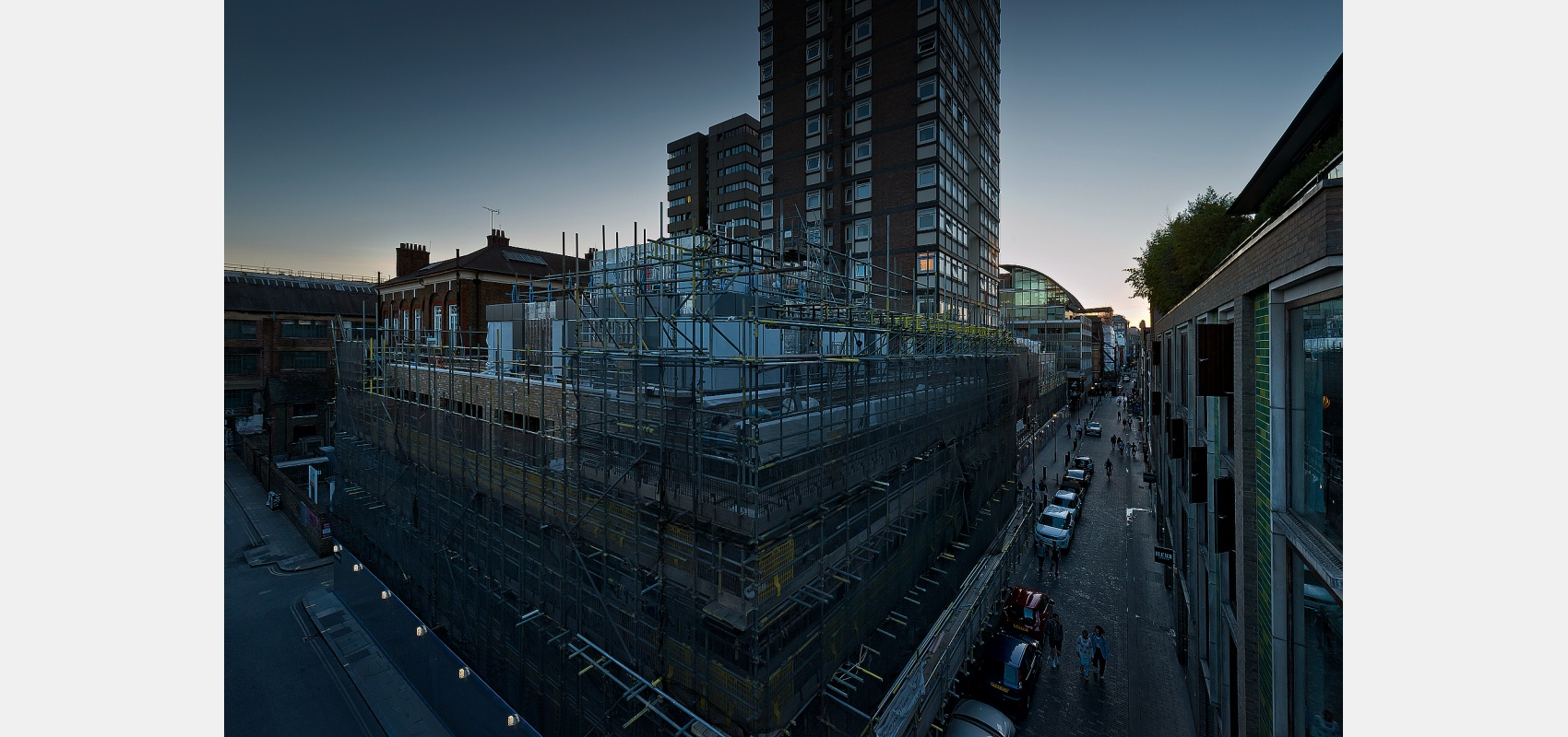 Construction Photography.Twilight background picture of development in central London for building render image.