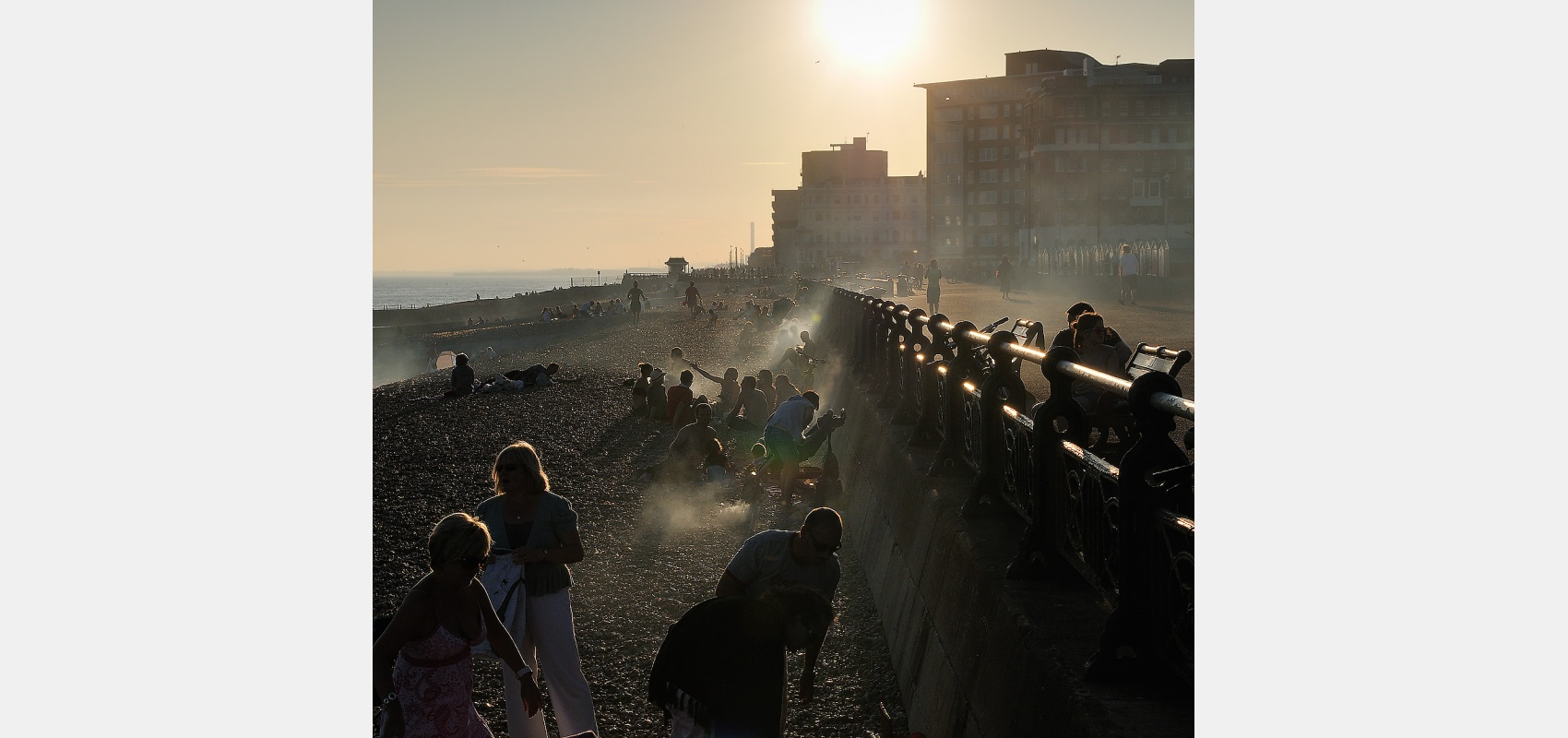 Location, places, Evening, barbecues, beach, Brighton, sunset