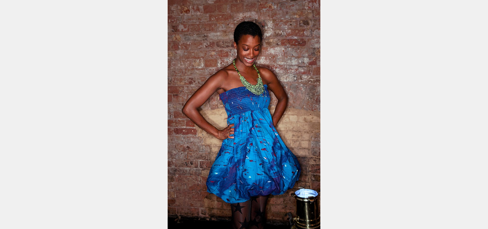 Fashion portrait/Fashion shoot/new African label/woman in blue dress.
