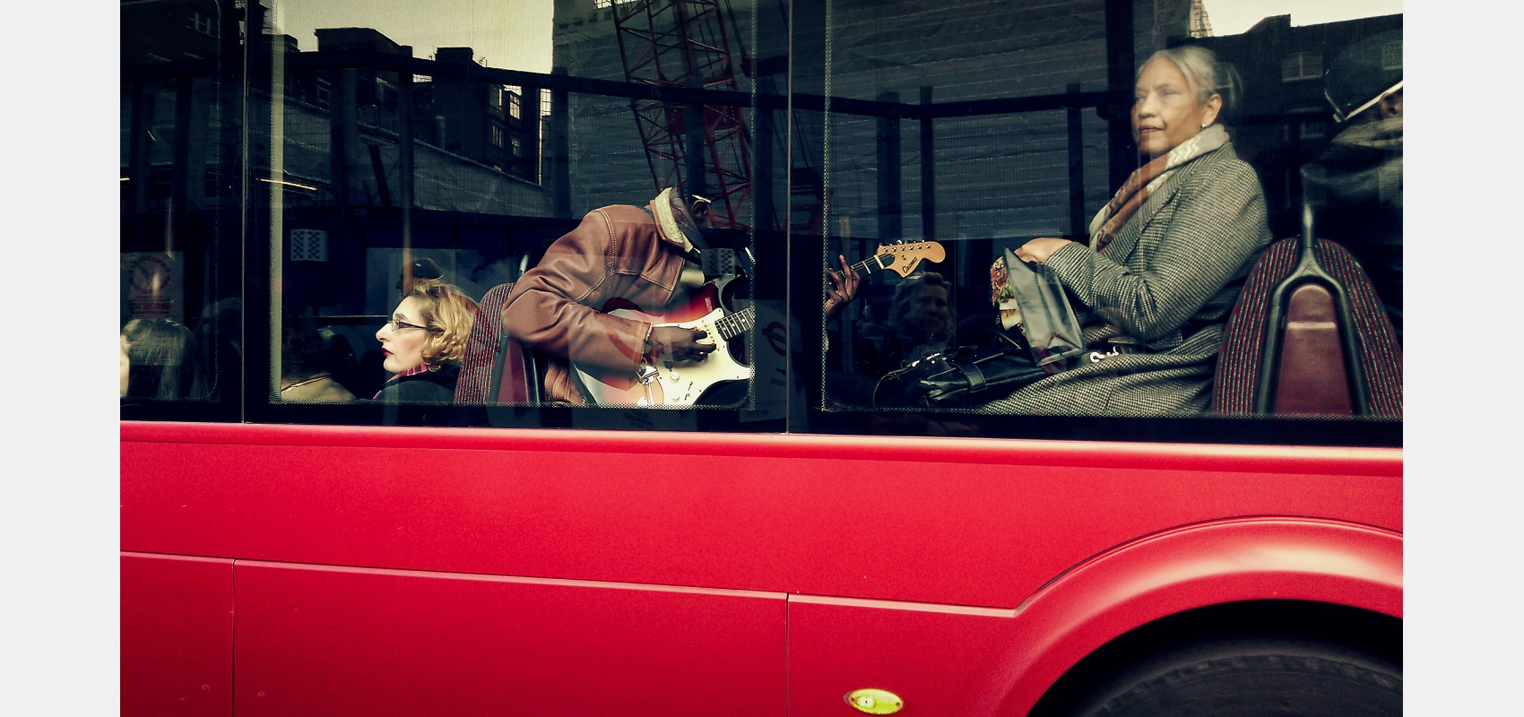 People, places, London, red, bus, Musician, playing, guitar, passengers