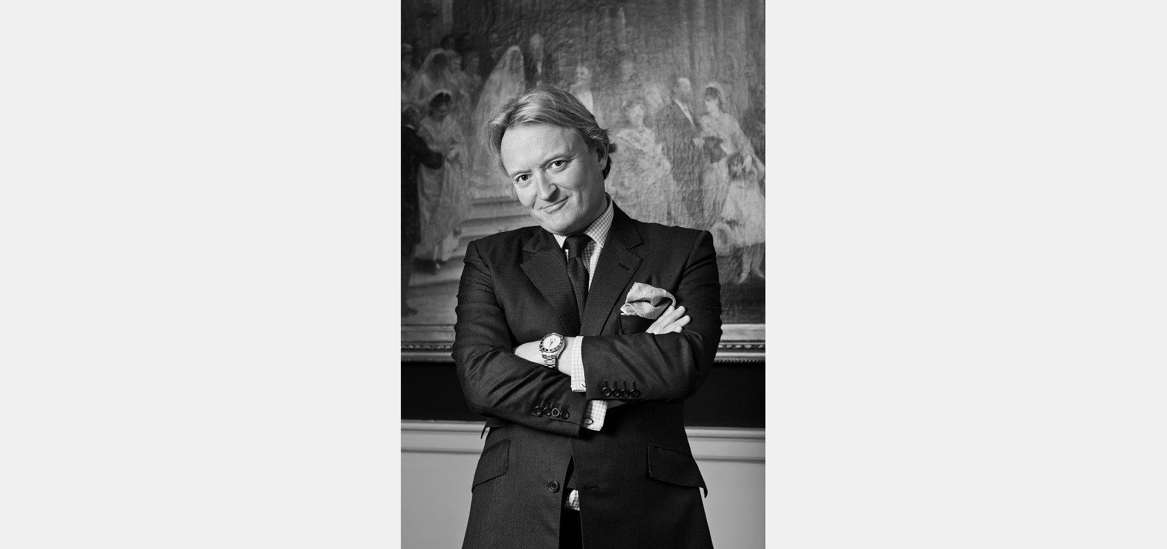Portrait photography/Black & white/company portrait/male in suit/Mayfair office.