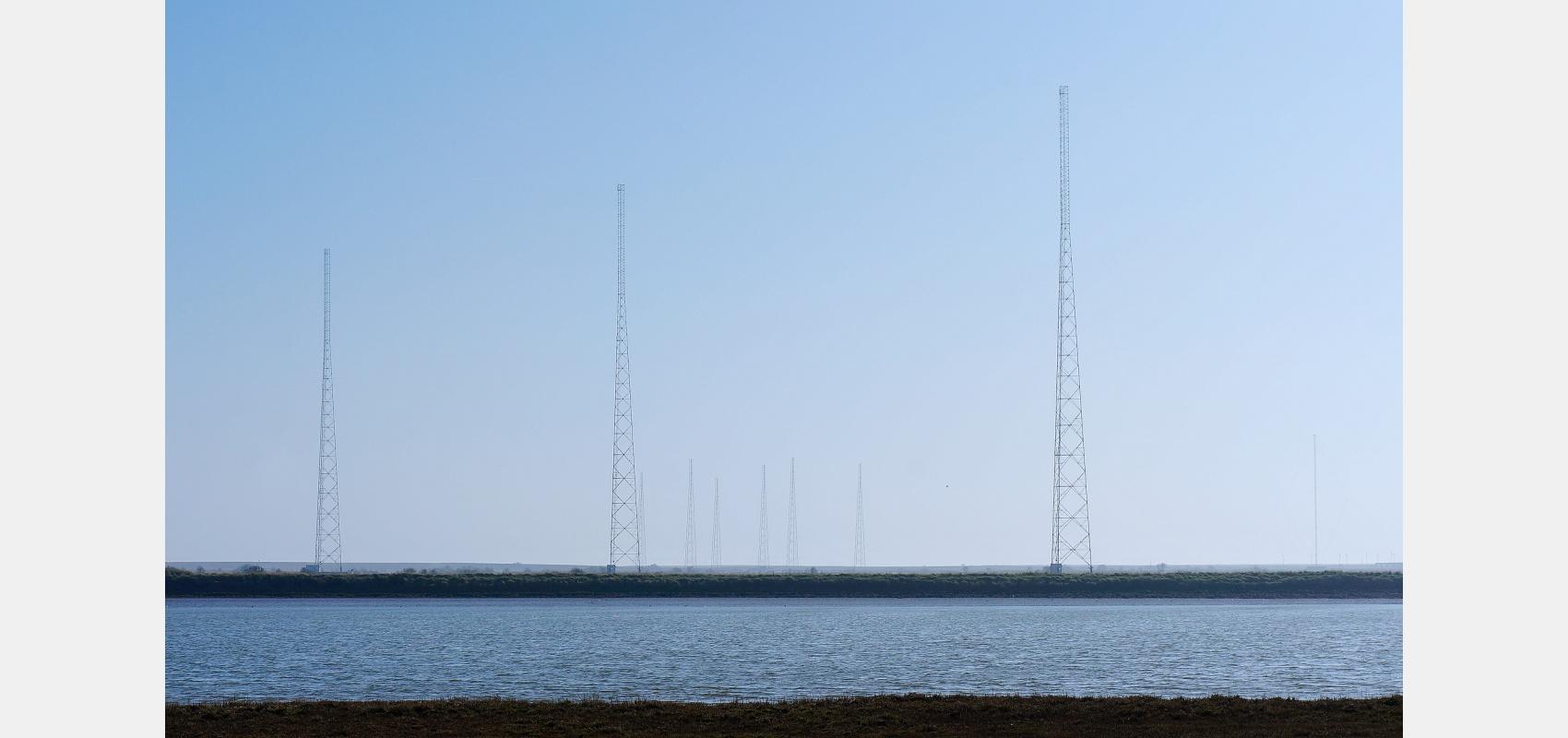 Location, landscape, Coastal series, Radio, masts, Orford Ness