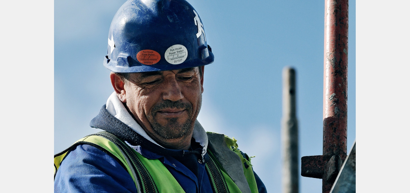 Construction worker - portrait of steeplejack, characterful face.