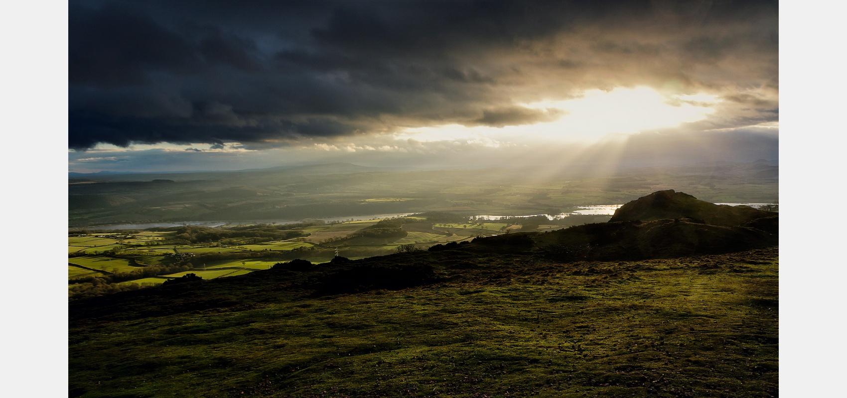 Location, landscape, Sunlight, flooded, River, Severn, Shropshire, hills
