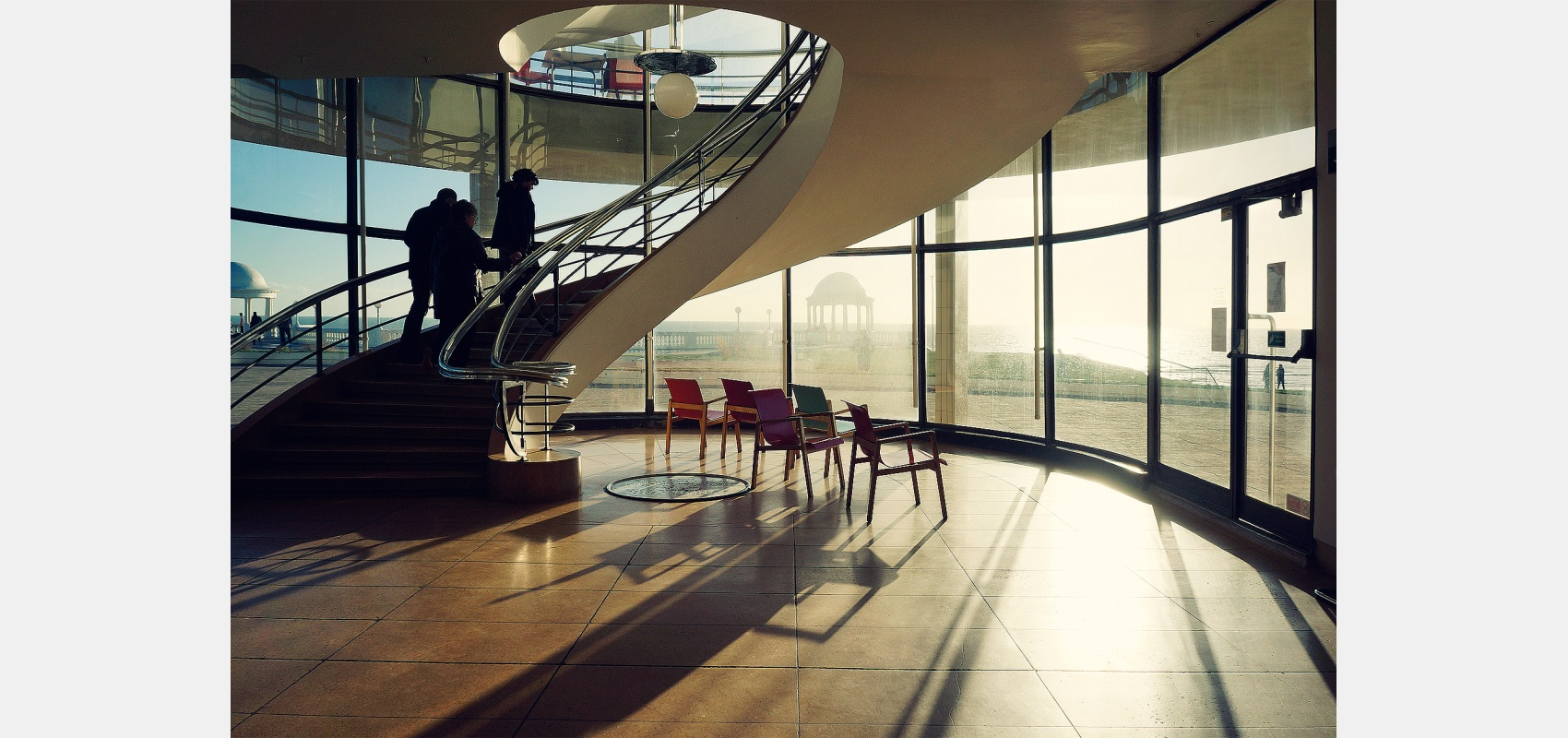 Architecture. Interior. Winter sun at the De La Warr Pavilion by the spiral stairs.