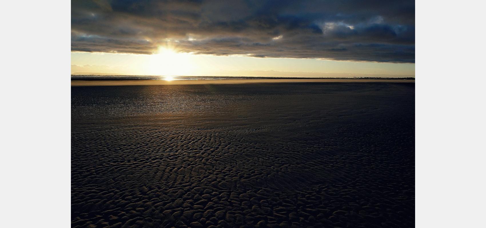 Seascape, low, tide, Coastal, image, Patterns, sand, sunset
