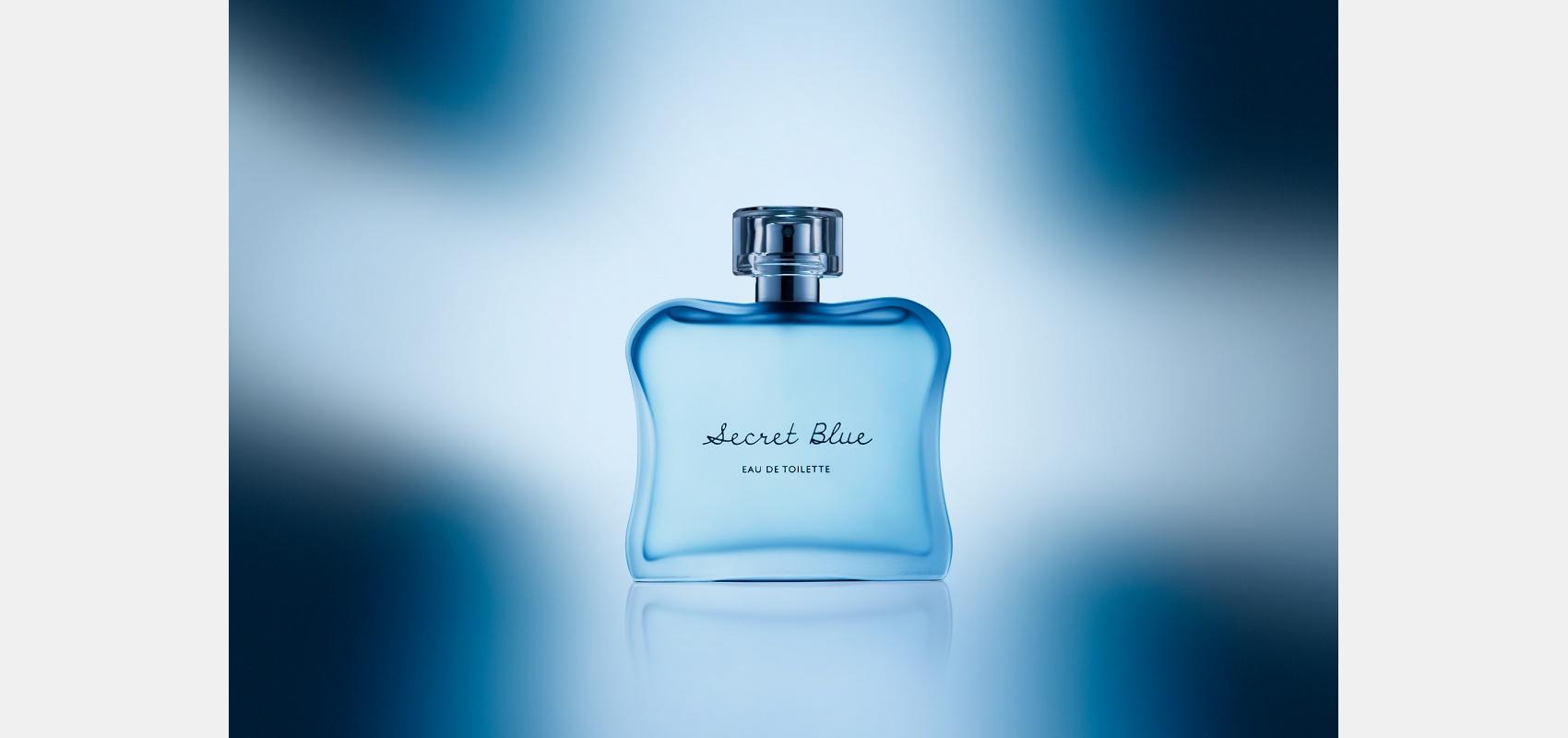 Product photography/cosmetics/perfume/secret blue/bottle/blue & white background